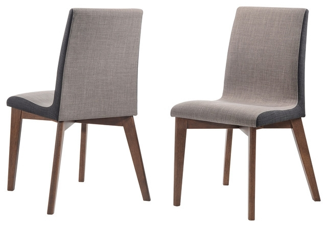 Most Popular Walden Upholstered Side Chairs Intended For 2 Piece Midcentury Fabric Upholstered Dining Side Chairs Walnut Wood (View 16 of 20)