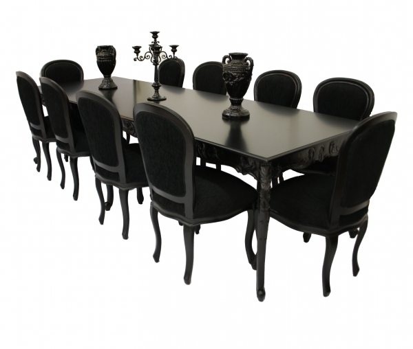 Most Recent 10 Seater Glass Dining Table And Chairs : Modern Kitchen Furniture In Black 8 Seater Dining Tables (View 11 of 20)