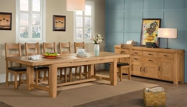 Most Recent 8 Seater Oak Dining Tables Within Kendal Oak 220Cm 320Cm 8 Seater Dining Table (View 14 of 20)