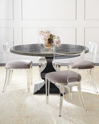 Most Recent Acrylic Round Dining Tables Regarding Bernhardt Vivian Black Inlay Dining Table And Nessy Clear Acrylic (View 10 of 20)
