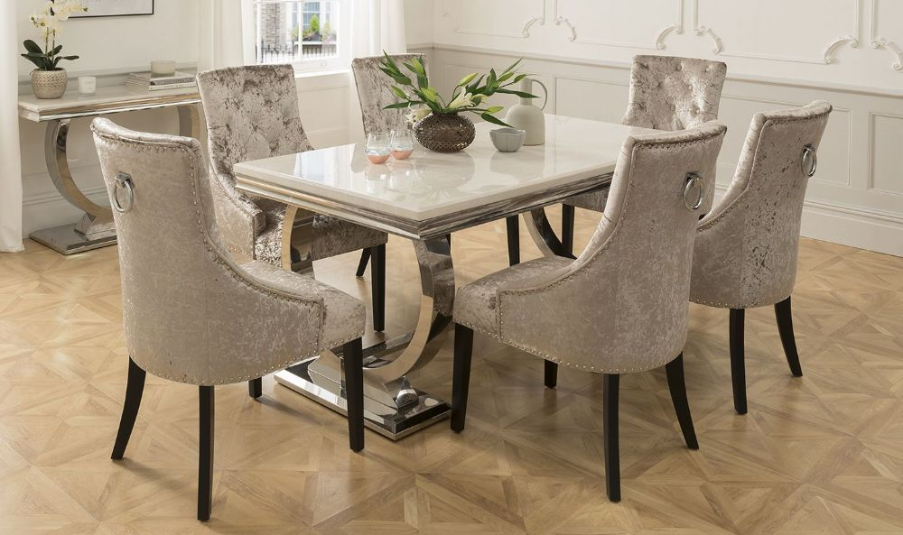 Most Recent Arianna 180Cms Cream Marble Dining Table & Six Chairs Regarding Dining Tables And Six Chairs (View 13 of 20)