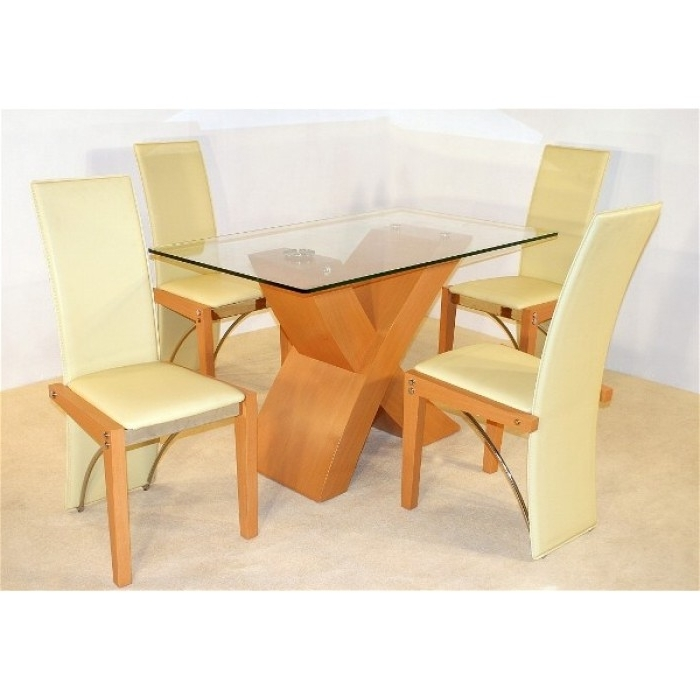 Most Recent Arizona Beech Dining Table + 4 Chairs Inside Beech Dining Tables And Chairs (View 12 of 20)