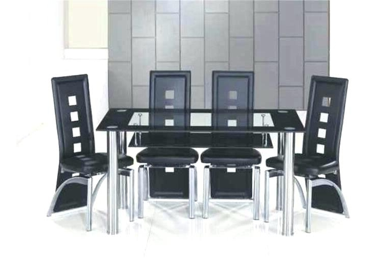 Most Recent Black Glass Dining Table Set Black Glass Dining Table Black Glass Pertaining To Black Glass Dining Tables 6 Chairs (View 11 of 20)