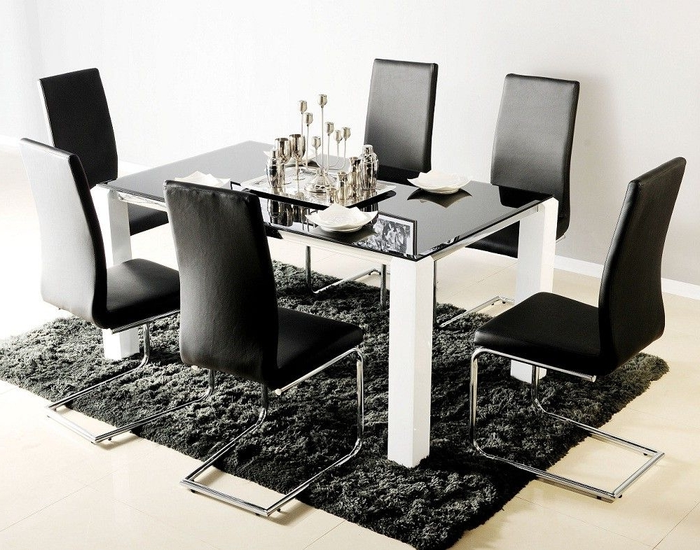 Most Recent Black Glass Dining Tables With 6 Chairs Intended For Black Glass Top Dining Table For 6 With White Legs Also Modern (View 16 of 20)