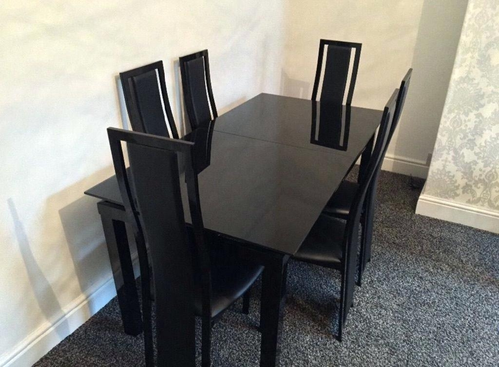 Most Recent Black Glass Extending Dining Table 6 Chairs – Parabulucu (View 8 of 20)