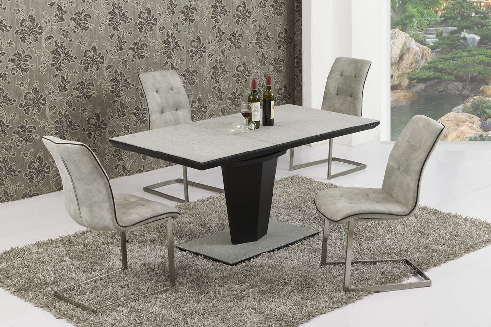 Most Recent Black Glass Extending Dining Tables 6 Chairs Intended For Extending Large Grey Stone Effect Glass Dining Table And 6 Chairs (View 11 of 20)