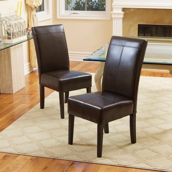 Most Recent Brown Leather Dining Chairs With Regard To Shop T Stitch Chocolate Brown Leather Dining Chairs (Set Of 2) (View 14 of 20)