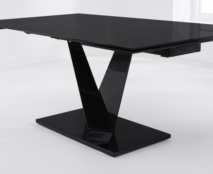 Most Recent Buy Mark Harris Isla Black Glass Rectangular Extending Dining Table Within Extending Black Dining Tables (View 13 of 20)