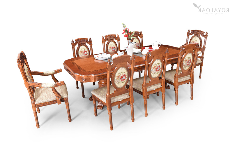Most Recent Buy Royaloak Empire 8 Seater Dining Set With Cushioned Chairs For Dining Tables For Eight (View 10 of 20)
