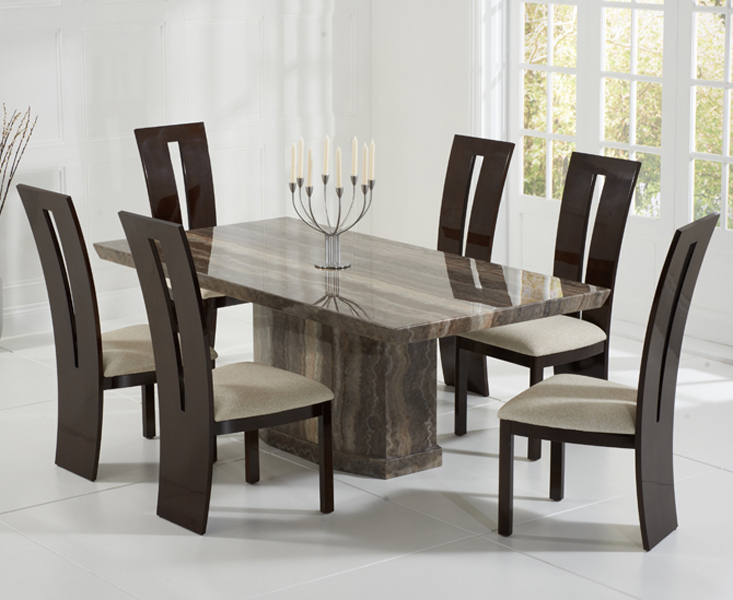 Most Recent Casalivin Black Or Brown Clawton Marble Dining Table Regarding Marble Dining Chairs (View 5 of 20)