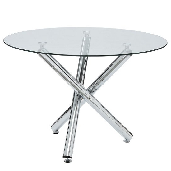 Most Recent Charles Glass Dining Table Round In Clear With Chrome Legs Pertaining To Chrome Glass Dining Tables (View 14 of 20)