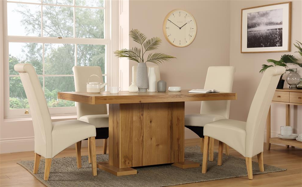 Most Recent Chilton 160cm Oak Dining Table With 4 Richmond Cream Chairs Only With Cream And Wood Dining Tables (View 20 of 20)