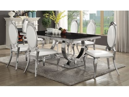 Most Recent Chrome Dining Sets For Antoine Black Tempered Glass Chrome Dining Table Set – Shop For (View 13 of 20)