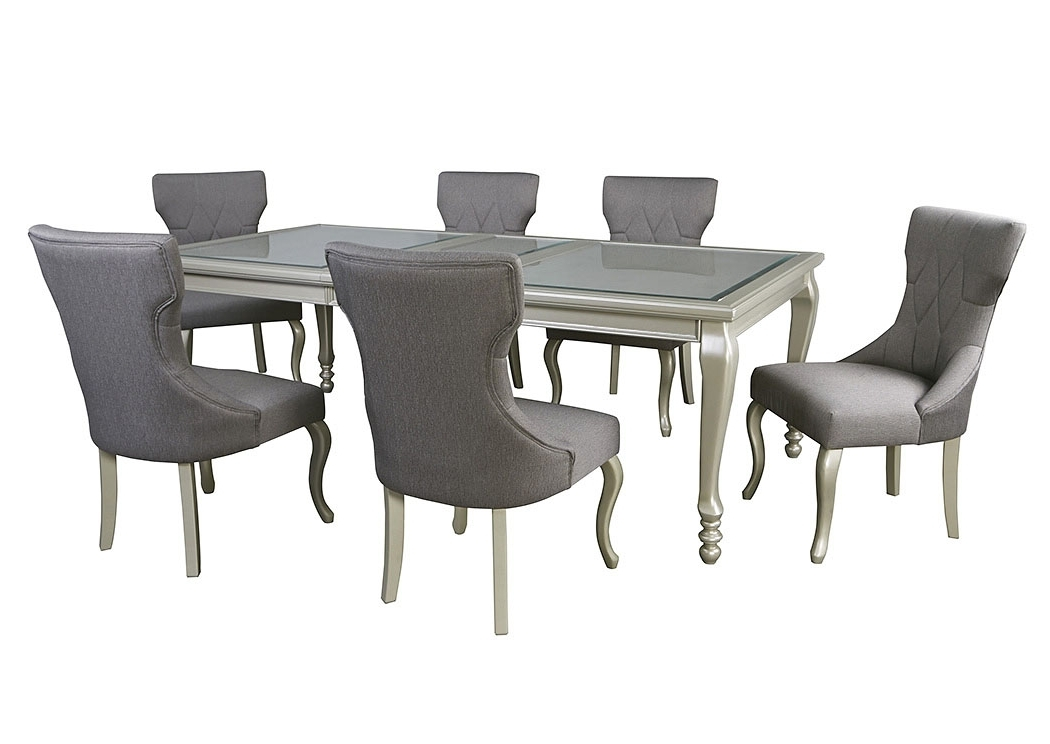Most Recent Craftsman 5 Piece Round Dining Sets With Side Chairs In Enes Outlets Coralayne Silver Finish Rectangular Dining Room (View 12 of 20)