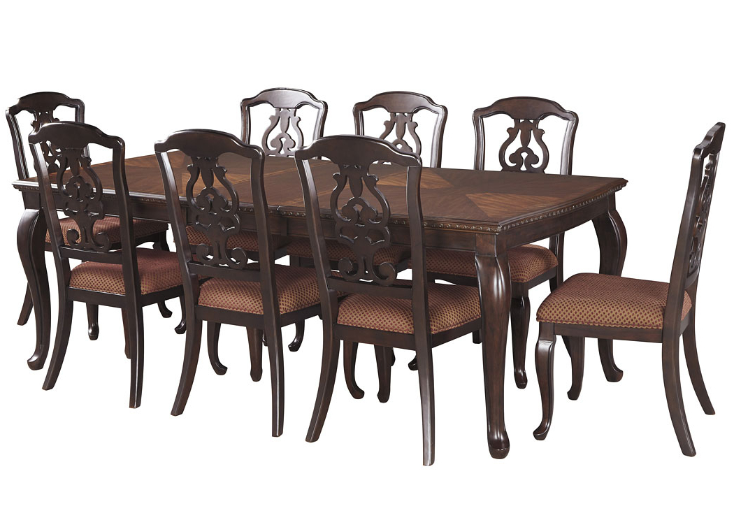 Most Recent Craftsman 7 Piece Rectangle Extension Dining Sets With Uph Side Chairs Intended For Big Al's Furniture Gladdenville Brown Rectangular Dining Room (View 16 of 20)