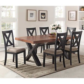 Most Recent Craftsman 7 Piece Rectangle Extension Dining Sets With Uph Side Chairs With Regard To Calix 7 Piece Dining Set (View 16 of 20)