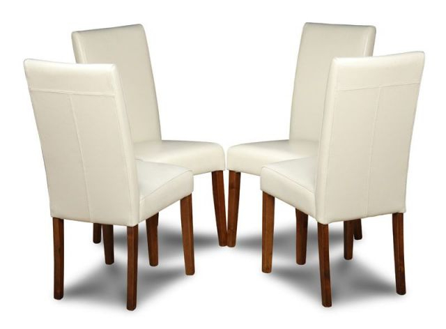 Most Recent Cream Coloured Set Of 4 Leather Dining Chairs Regarding Cream Leather Dining Chairs (View 11 of 20)