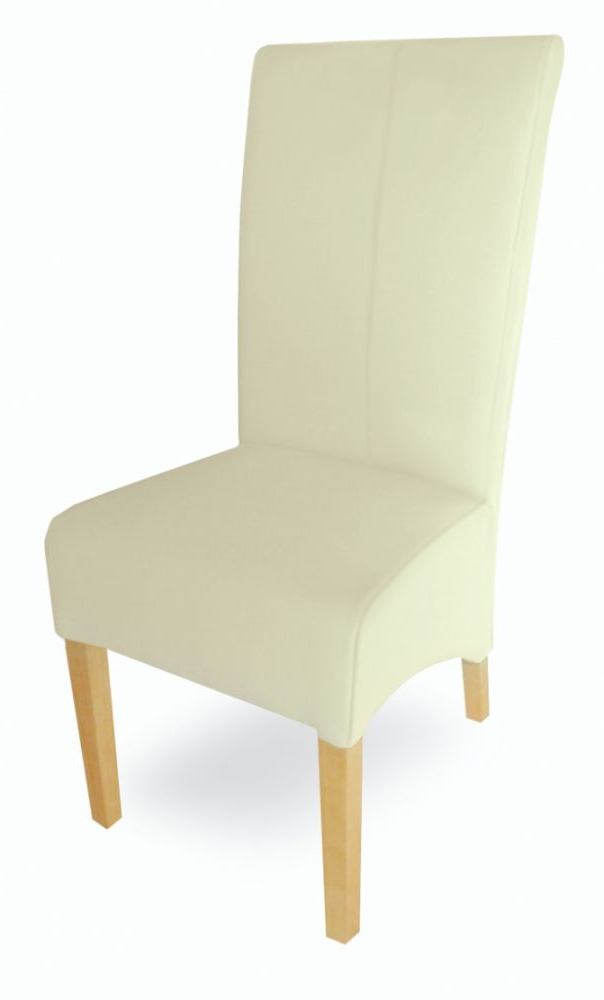 Most Recent Cream Leather Dining Chairs Within Milano Cream Leather Dining Chair (View 15 of 20)