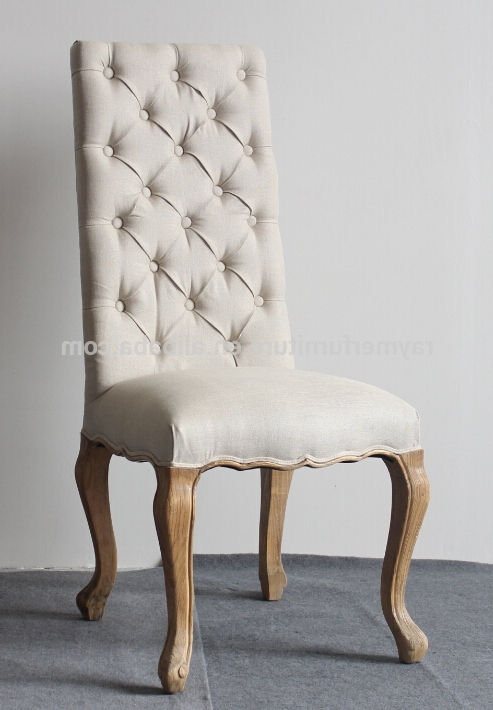Most Recent Cream Linen Button Tufted High Back Fabric Dining Chairs – Buy High With Button Back Dining Chairs (View 9 of 20)