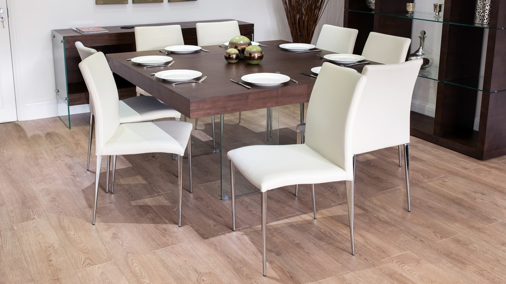 Most Recent Dark Wood Square Dining Tables Regarding Large Square Dark Wood Dining Set With Glass Legs (View 14 of 20)