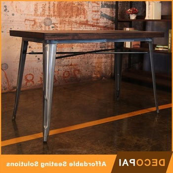 Most Recent Dining Tables 120x60 In 120x60 Bordered Desktop Elm Wood And Iron Dining Table – Buy Dining (View 8 of 20)