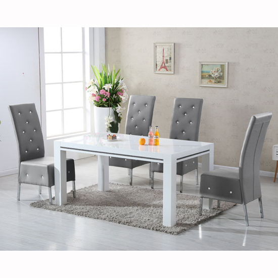 Most Recent Dining Tables Grey Chairs Within Diamante High Gloss Dining Table With 6 Asam Grey Chairs (Gallery 8 of 20)