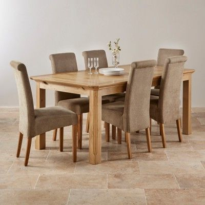 Most Recent Edinburgh Natural Solid Oak Dining Set – 6Ft Extending Table With 6 With Regard To Oak Dining Tables And Fabric Chairs (View 7 of 20)