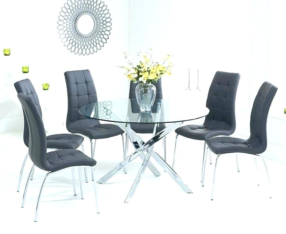 Most Recent Extendable Glass Dining Tables And 6 Chairs Within Round Dining Table 6 Chairs Elegant Black Glass Extending Dining (View 11 of 20)