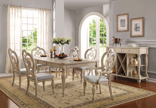 "Most Recent French Country Dining Tables Pertaining To Absolon French Country Dining Room Set 66"" 86"" Table Antique White (View 14 of 20)"