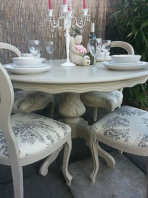Most Recent French Shabby Chic Louis Dining Table And Balloon Back Chairs For Shabby Chic Dining Sets (View 7 of 20)
