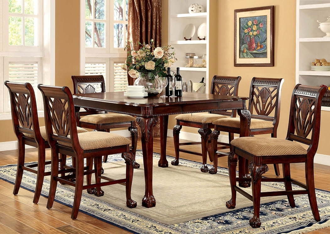 Most Recent Furniture Fashions Petersburg L Cherry Square Counter Height Table W Pertaining To Craftsman 5 Piece Round Dining Sets With Side Chairs (View 13 of 20)