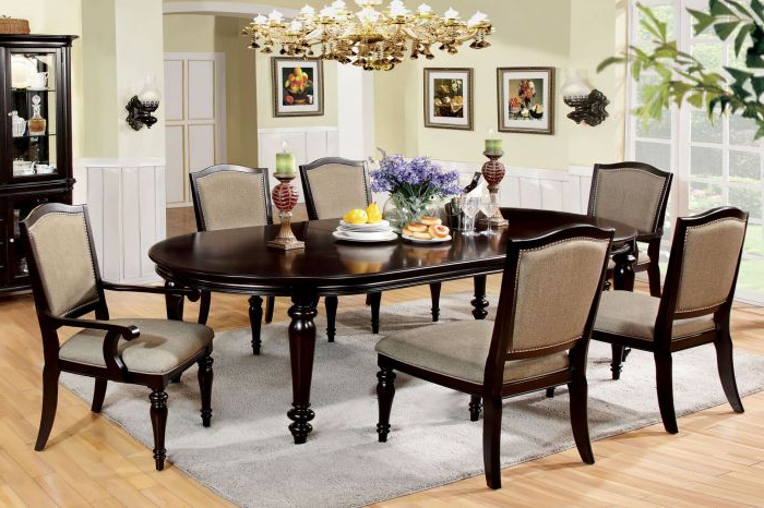 Most Recent Furniture Of America Cm3970T Cm3970Ac Cm3970Sc Harrington 7 Pieces For Walnut Dining Table Sets (View 11 of 20)