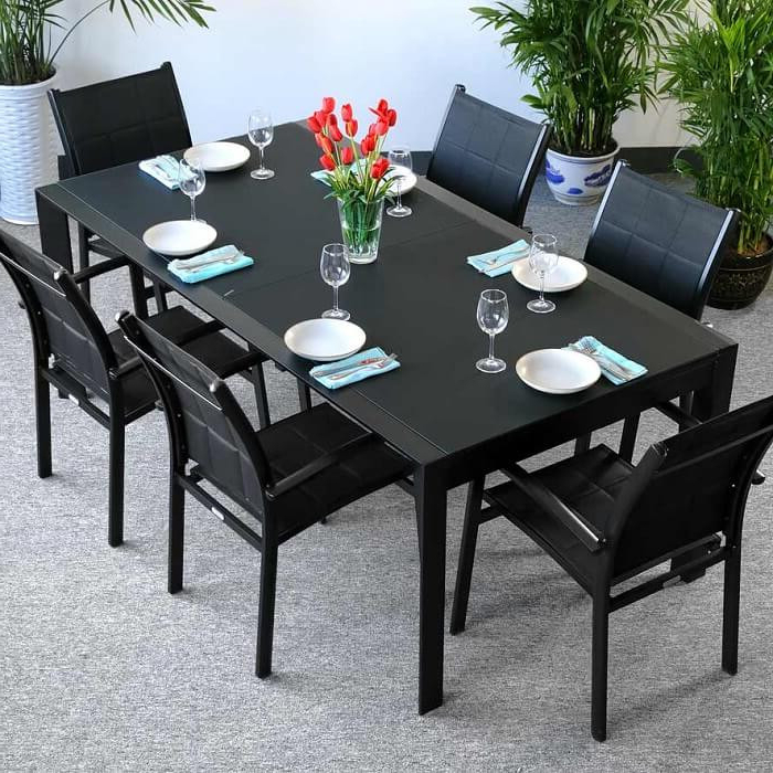 Most Recent Glass Dining Tables And Chairs Inside Dining Table Set Violet Black – 6 Person Aluminium & Glass Extension (View 19 of 20)