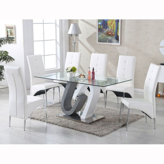 Most Recent Glass Dining Tables With 6 Chairs Regarding Barcelona Dining Table In Clear Glass Top With Stainless Steel Base (Gallery 14 of 20)