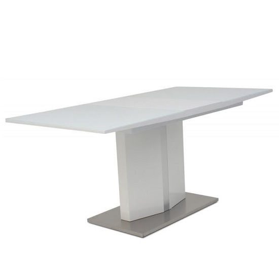 Most Recent Glass Folding Dining Tables Intended For Rochelle Glass Extendable Dining Table With White High (View 12 of 20)