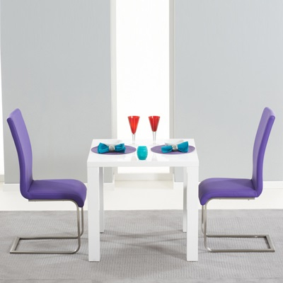 Most Recent Harvey 80Cm High Gloss White Dining Table With 2 Milan Purple Chairs For Dining Tables And Purple Chairs (View 11 of 20)
