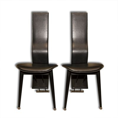 Most Recent High Back Leather Dining Chairs Regarding Italian Vintage High Back Leather Dining Chairs, 1980S, Set Of 2 For (View 15 of 20)