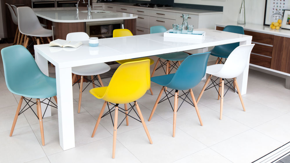 Most Recent High Gloss Dining Chairs In Fern White Gloss Extending And Eames Style Dining Set (View 13 of 20)