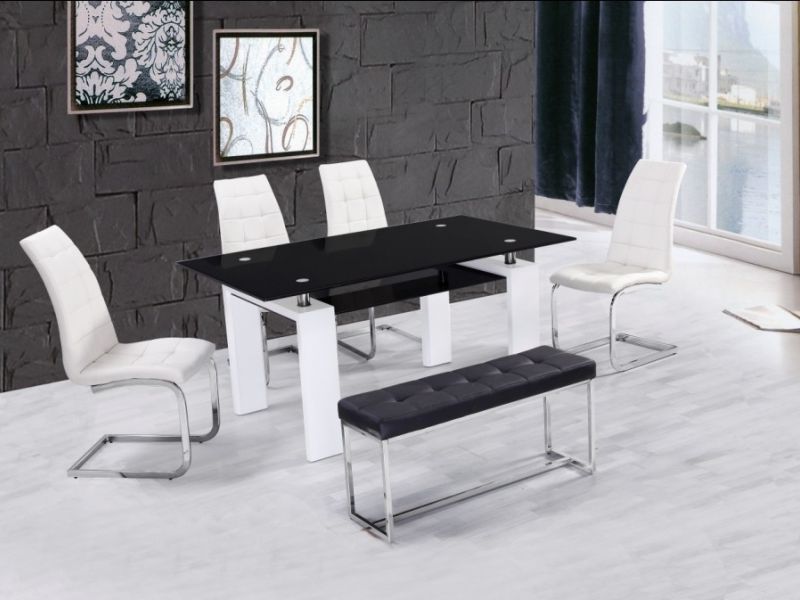 Most Recent High Gloss Glass Dining Table With 4 Chairs & Bench – Homegenies Within White Glass Dining Tables And Chairs (View 10 of 20)
