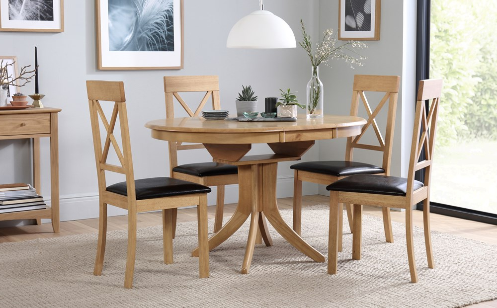 Most Recent Hudson Round Oak Extending Dining Table With 6 Kendal Chairs Only Within Round Oak Extendable Dining Tables And Chairs (View 4 of 20)