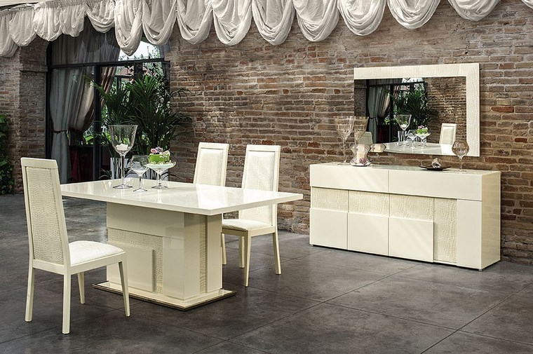 Most Recent Italian Beige High Gloss Dining Room Furniture Set – Homegenies With Regard To Cream Gloss Dining Tables And Chairs (View 14 of 20)