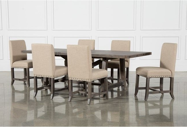 Most Recent Jaxon Grey 7 Piece Rectangle Extension Dining Set W/uph Chairs Intended For Combs 7 Piece Dining Sets With  Mindy Slipcovered Chairs (View 11 of 20)