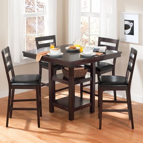 Most Recent Laurent 5 Piece Round Dining Sets With Wood Chairs With Regard To Kitchen Table Walmart Canopy Gallery Collection 5 Piece Counter (View 10 of 20)