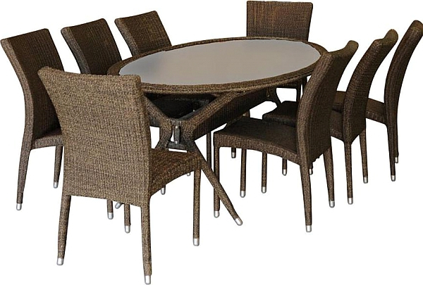 Most Recent Macie 5 Piece Round Dining Sets For Bari 9 Piece Wicker Oval Patio Dining Set, Outdoor Furniture Sets (View 15 of 20)