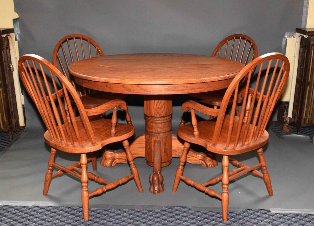Most Recent Modern Oak Round Top Table With Ball And Claw Feet And Two L In Dodger Side Chairs (View 20 of 20)