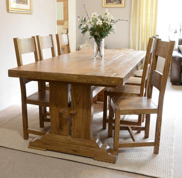 Most Recent Oak Dining Furniture Pertaining To Fitzwilliam 7Ft Oak Dining Table – Rathwood Uk (View 7 of 20)