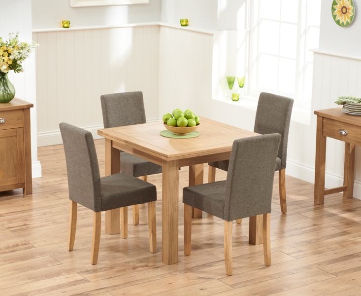 Most Recent Oak Dining Tables And Fabric Chairs Throughout Udine Solid Oak 90Cm Flip Top Extending Dining Set With 4 Worksop (View 8 of 20)