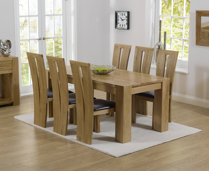 Most Recent Oak Dining Tables With 6 Chairs Pertaining To Thames 180cm Oak Dining Table With Montreal Chairs (View 20 of 20)