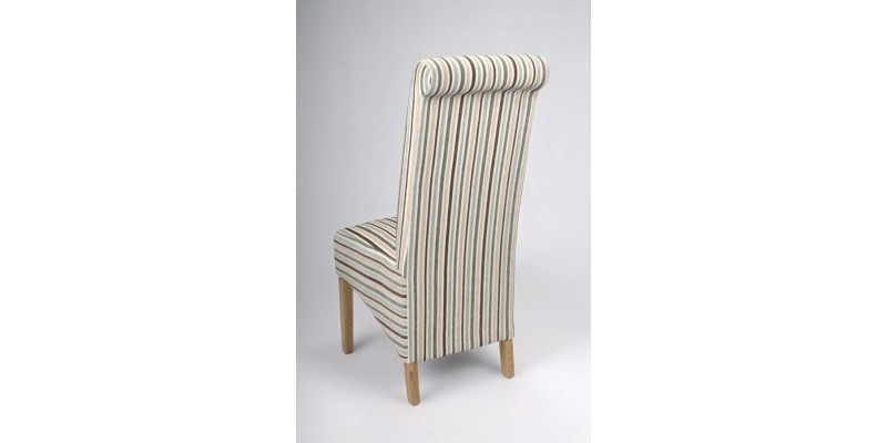 Most Recent Roll Back Duck Egg Blue Chenille Stripe Dining Chair Throughout Blue Stripe Dining Chairs (View 12 of 20)
