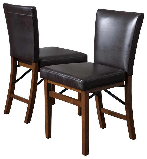 Most Recent Rosalynn Brown Leather Folding Dining Chairs, Set Of 2 Intended For Black Folding Dining Tables And Chairs (View 6 of 20)